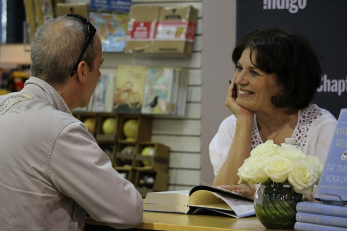 Margaret Trudeau at her hometown Indigo. Welcome back to North Van!