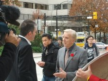 Media legend Lloyd Robertson with CTV's Mike Killeen on the streets of Vancouver.