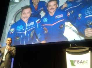 Margaret helps manage Chris Hadfield's FISA event.
