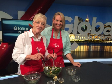 Best of Bridge ladies really are the best. Here's original member Mary Halpen with new recruit Julie Van Rosendaal on the set at Global BC's Noon News.