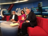 Author MG Vassanji with Global Morning News' Steve and Sophie.