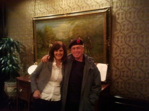 Margaret hanging out with Bruce Cockburn after his Vancouver Writers Festival event - job perk!