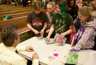 Chris chats to fans at Kidsbooks' event