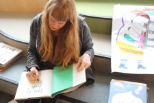 Children's author/illustrator Carson Ellis signs Du Iz Tak? at York House School.