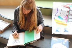 Children's author/illustrator Carson Ellis signs Du Iz Tak? at York House School.