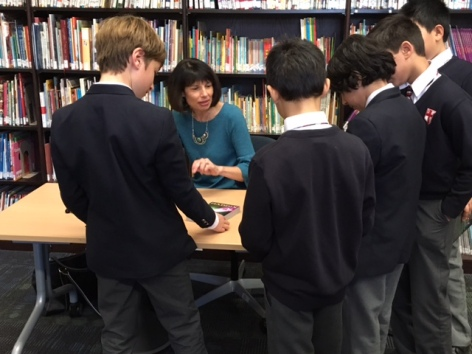 Margaret Peterson Haddix chats with fans at St George's School.