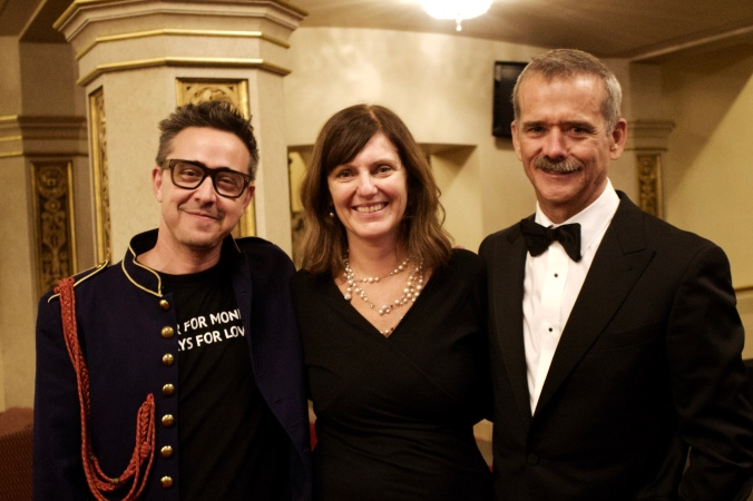 Margaret and client Col Chris Hadfield, and musician Danny Michel at the VSO concert Terra and Beyond.