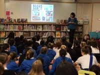 NY Times Bestselling author Margaret Peterson Haddix with Crofton House students.